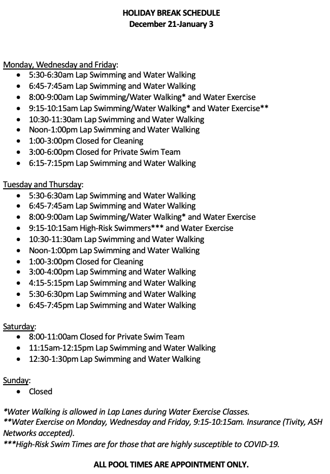 Image of December 20-January 3 Schedule (If cannot see email info@mtrainierpool.com to get a copy.)