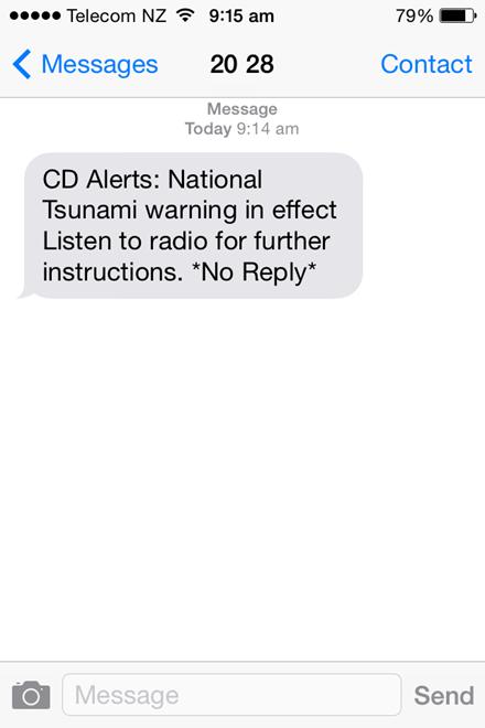 Screen shot of text alert message