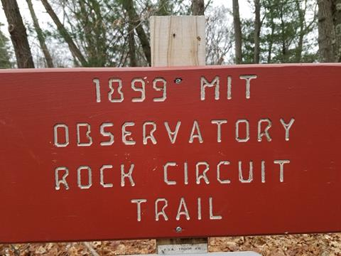 Red MIT Observatory Trail Sign Photo credit: Brian DeLacey