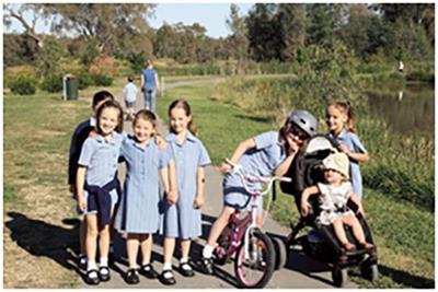 Sheridan Jones, Sarah Mason, Chiara Millett, Elise Mason, Emily Sanday and Mia Sanday participating in the Walk to School event.