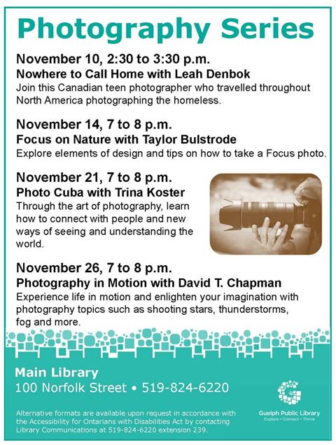 Drop into the Main Library this month for four photography lectures. Each session will share a different perspective of the world through a photographer's lens. No registration is required.