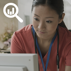 Clinician searching for health performance data online