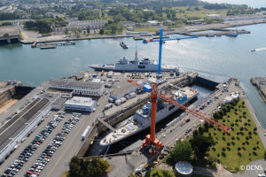 Naval Group's shipyard in Lorient, Brittany. Naval Group