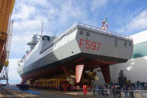 The launch of the 8th Italian FREMM in Genoa by Fincantieri.  Nigel Pittaway