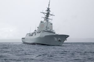 HMAS Hobart in the waters of Jervis Bay, New South Wales. Defence