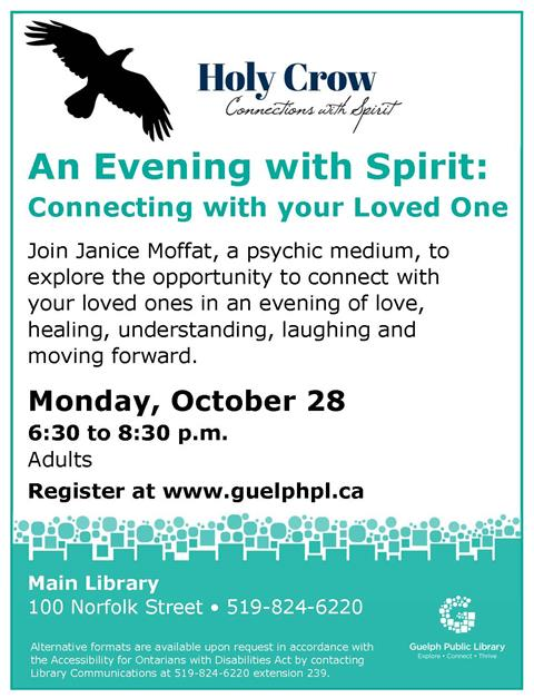Psychic Janice Moffat will bring forward messages of hope, support and the trust that your loved ones are still with you. Please register.