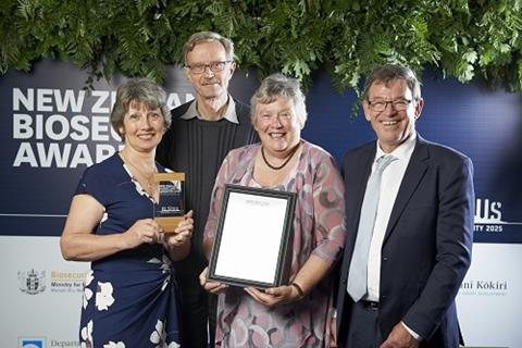 L-R Clare St Pierre, Selwyn June and Diane June accepted the award presented to them by Mike Slater.