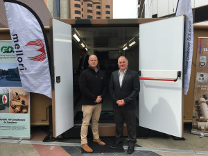 It's time to think inside the box! GDS General Manager Clint Evans and colleague Jeromy Bendall at Land Forces 2018. Ewen Levick