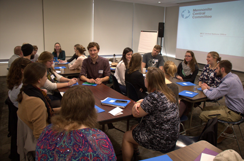 Students engage in a group activity during the 2015 MCC UN Office Student Seminar (photo credit: Doug Hostetter)