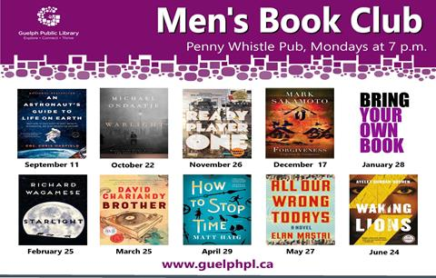 This is the poster for the Men's book club and displays the covers of all the books selected for the 2018 and 2019 season. The next meeting is at the Pennywhistle Pub on Monday February 25, from 7 to 8 p.m. They will be discussing Richard Wagmese's book Starlight.