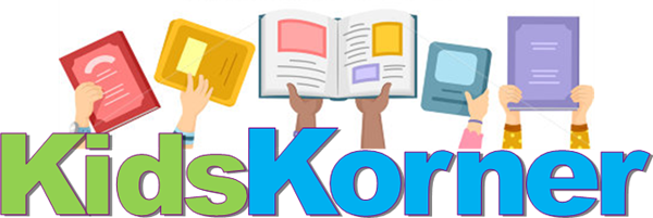 This is the title block for Kids Korner. It is a clip art image of multiple children's hands holding different book covers above the title Kids Korner.