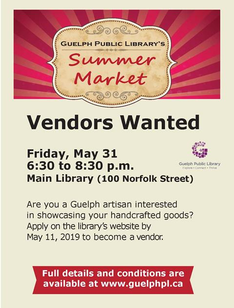 Mark your calendars. Join us at the Main Library on Friday June 1 from 7 to 9 p.m. for our after-hours summer market.
