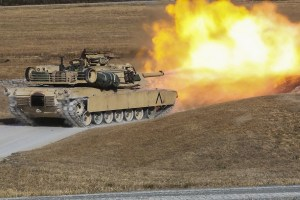 US Marines fire the main gun of an M1A1 Abrams tank during a training exercise at Camp Lejeune. USMC