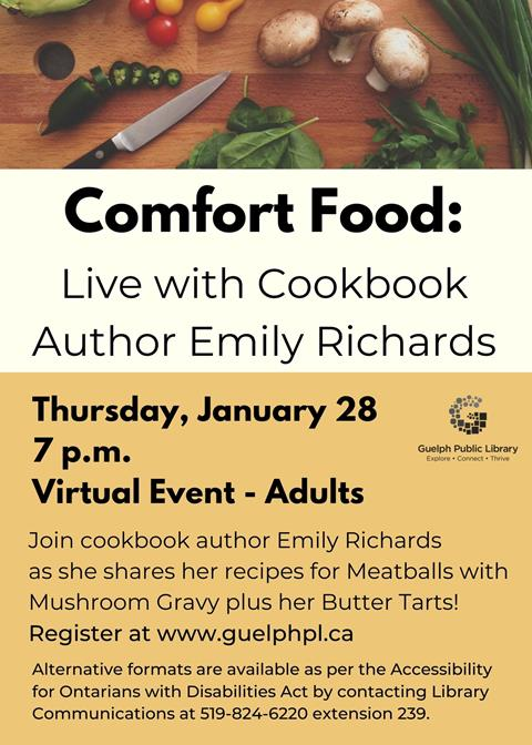 Join cookbook author Emily Richards as she shares her recipes for Meatballs and more! Register for this virtual event. Thursday, January 28 at 7 p.m.