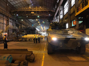 A Boxer CRV in the Bluescope Steelworks at Port Kembla. Credit: Rheinmetall Defence Australia