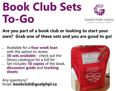 Are you part of a book club or looking to start your own?  Grab one of these book club sets to go and you are good to go! They are available for a four week loan with the option to renew. We have 30 sets available - check out the library catalogue for a full list. Each set includes 10 copies of the book, discussion guide and tracking sheets.