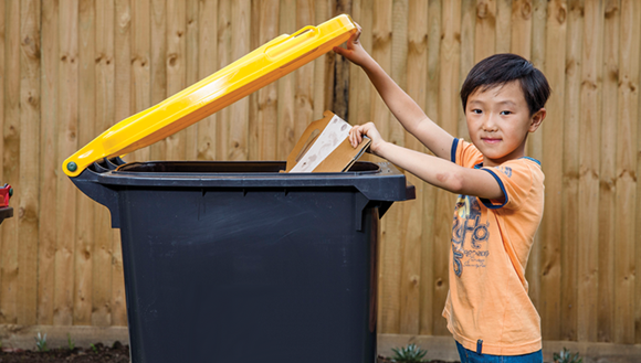 Putting cardboard in recycling bin