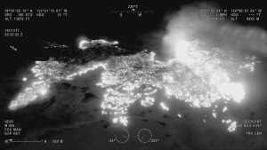 A snapshot of the infra-red full motion video picture supplied by the MQ-9 RPA during the firefighting support mission over California. Credit: US DoD