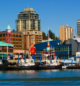 Image of the New Westminster skyline from the waterfront.