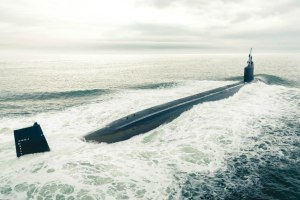 The US nuclear-powered submarine Pre-Commissioning Unit (PCU) Indiana departs to conduct sea trials in the Atlantic Ocean. US Navy