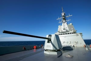 Two of the Aegis phased arrays fitted to the Air Warfare Destroyer NUSHIP Hobart are clearly visible in this shot taken during her recent sea acceptance trials. Credit: AWD Alliance