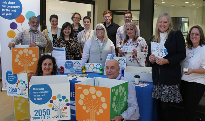Mitchell Shire staff with 2050 Vision props