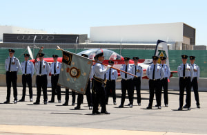 Aircraft Research and Development Unit personnel celebrating the 75th anniversary at RAAF Edinburgh.