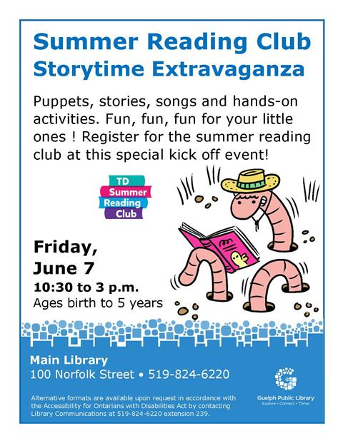 Join us at the Main Library on June 7 at 10:30am for a special Summer Reading Club storytime Extravaganza.