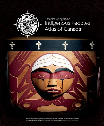 """This is the cover for the book """"Indigenous Peoples Atlas of Canada"""" It is a black cover with an Indigenous motif on it."""
