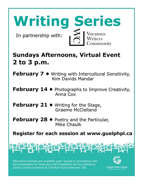 This February, register for one of our free virtual writing sessions hosted in partnership with Vocamus Writers Community. Each Sunday in February at 2 p.m.