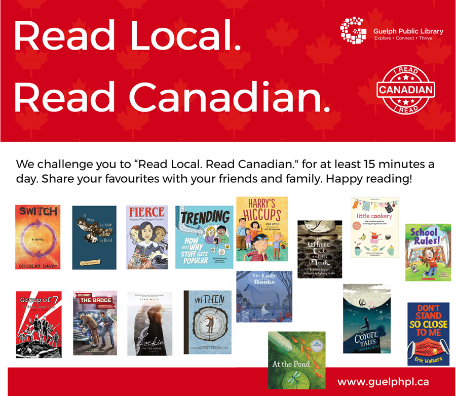 We challenge you to Read Local. Read Canadian and to share your reading experiences with your friends and family. Enjoy these Canadian authors.