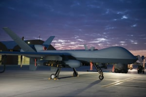 An MQ-9 Reaper equipped with an extended range modification sits on the ramp at Kandahar Airfield, Afghanistan.  USAF/Sgt Robert Cloys