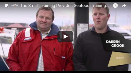 Student of Seafood Training Tasmania, Darren Crook, talking to the camera about his work