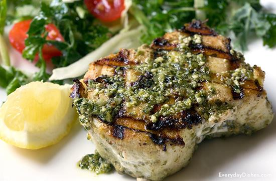 Savory Grilled Halibut with Pesto