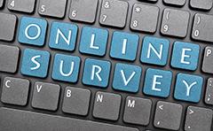 Online survey keys highlighted on keyboard