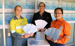 Three women holding entry forms