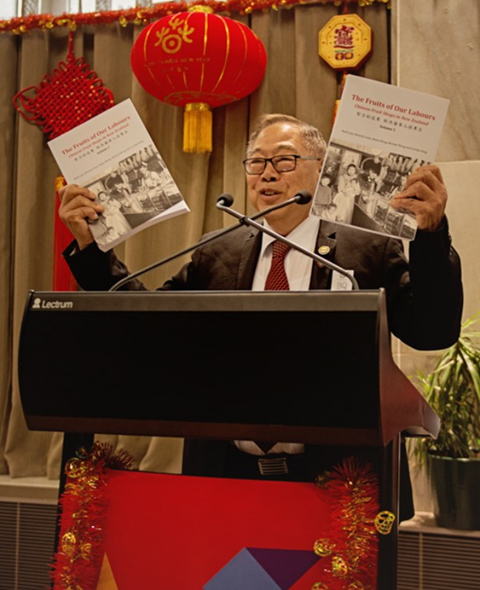 """Mr Kai Luey launching """"The Fruits of Our Labours: Chinese Fruit Shops in New Zealand""""."""