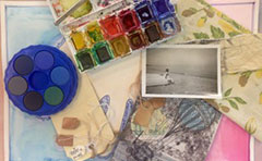 Palette and coloured printed papers