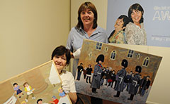 Photo of local artists promoting their exhibition at the Art Gallery/Museum