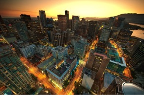 View of downtown Vancouver from the Lookout Tower at Harbour Centre, August 8, 2011