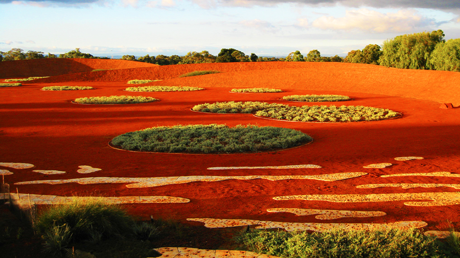 The iconic Red Sand Garden at Cranbourne Gardens.