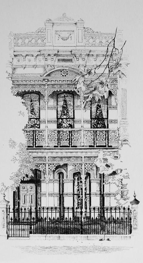 pete martin artist pen & ink, terrace house, melbourne