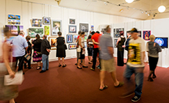 Crowd viewing gallery exhibition