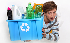 A photo of resident with recycling items