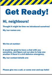 Get ready card for neighbours