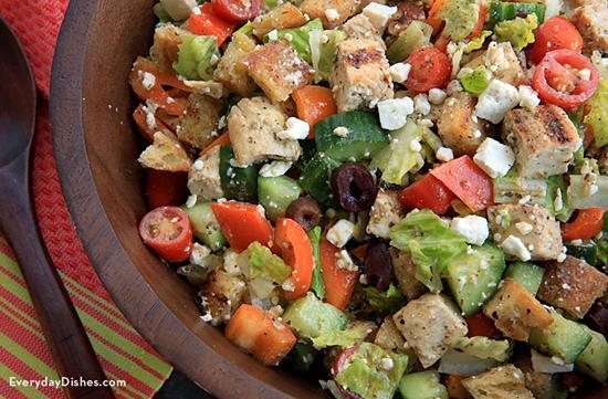 Greek Chicken Panzanella Salad