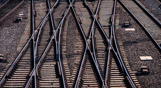 Criss-crossing railway tracks