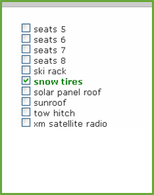 search for snow tires when booking a vehicle