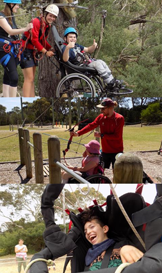 Photo montage showing three kids with disability having fun on summer camp