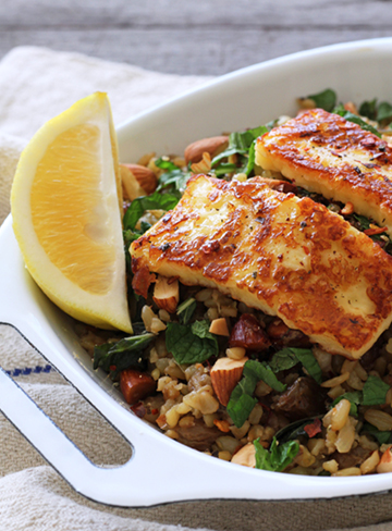 Freekeh Pilaf with Haloumi, Mint, Lemon and Almonds